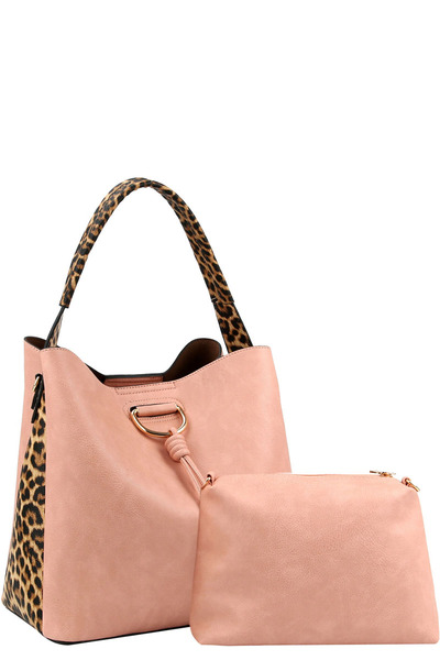 Knot Accent Leopard Cheetah Print 2 in 1 Hobo