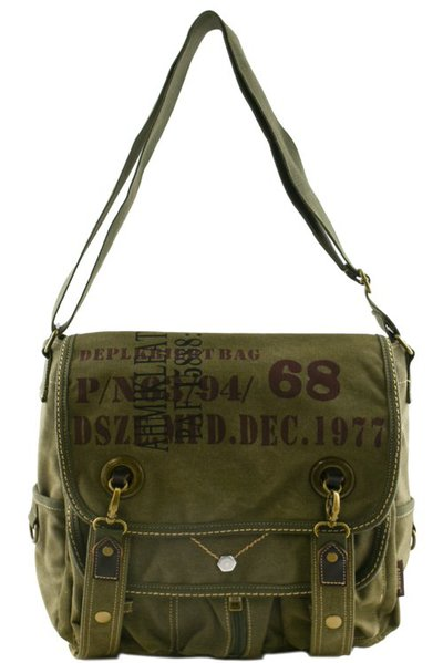 DESIGNER CANVAS MESSENGER BAG