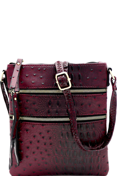 Ostrich Embossed Multi Zipper Pocket Cross Body
