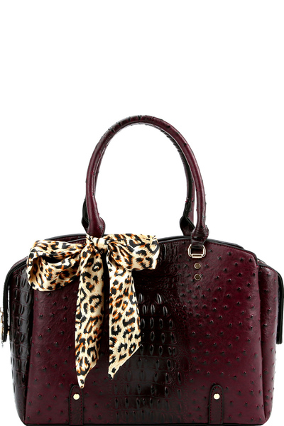 Leopard Scarf Accent Ostrich Print 2-way Satchel