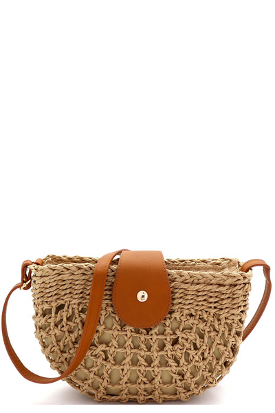 Knitted Straw Bohemian Half-Moon Cross Body