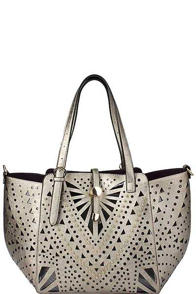2IN1 STYLISH STUDDED SEMI TRANSPARENT SHOPPER WITH LONG STRAP