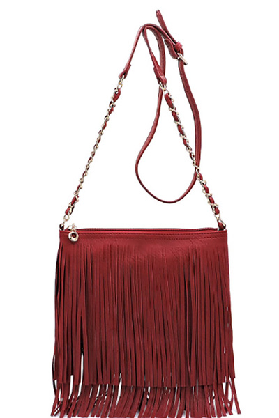 Faux Leather Fringe Hand Bag