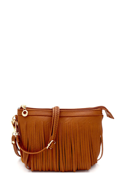 Both Side Fringed Bohemian Small Wristlet Cross Body