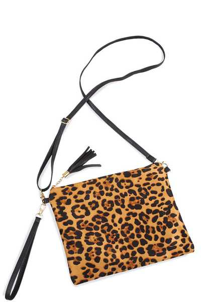 LEOPARD CLUTCH CROSSBODY BAG WITH TWO STRAPS