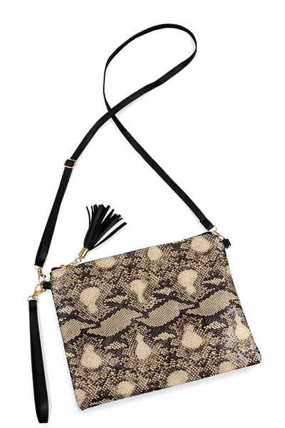PYTHON PATTERN CLUTCH CROSSBODY BAG WITH TWO STRAPS