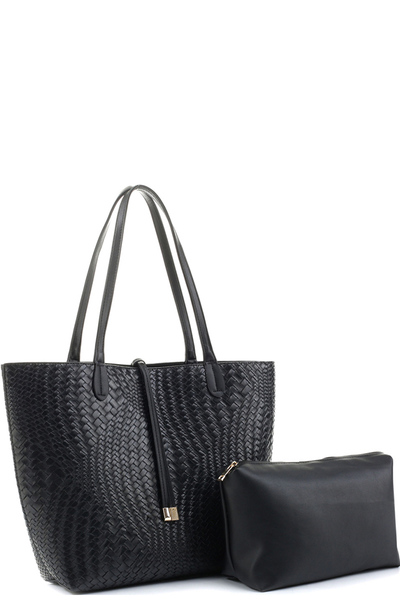 Woven Pattern Classy 2 in 1 Large Shopper Tote