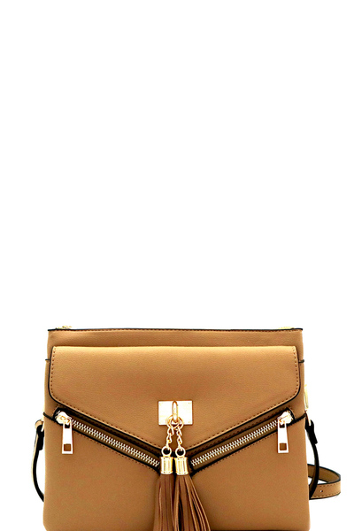 Tassel Accent Multi-Compartment Shoulder Bag