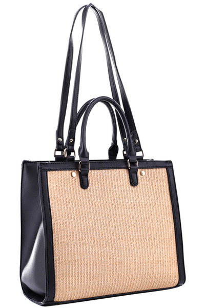 Straw Accent 2 Way Rectagular Square Satchel