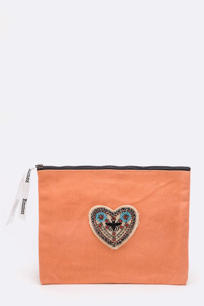 Beaded Bee Heart Patch Cotton Canvas Pouch