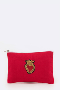 Crown Heart Patch Cotton Pouch