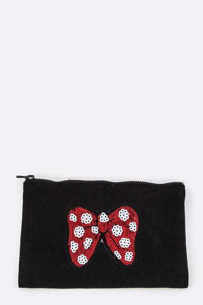 Sequins Bow Patched Mini Pouch