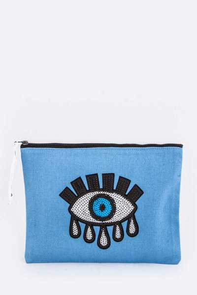 Sequins Eye Patch Canvas Tote