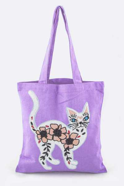 Sequins Kitty Canvas Tote