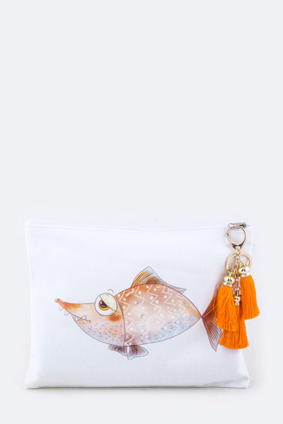 Comic Fish Tasseled Pouch