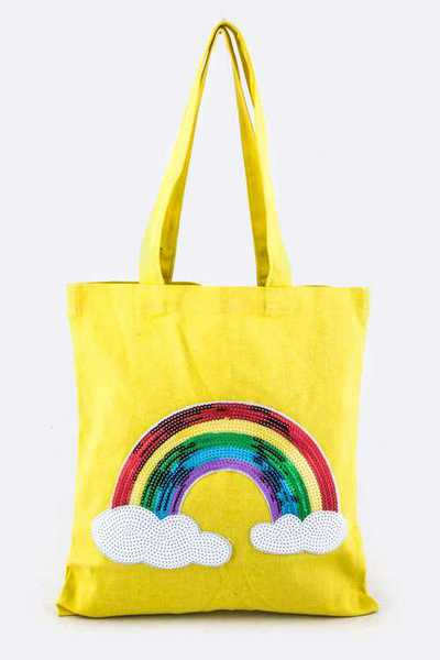 Sequins Rainbow Canvas Tote