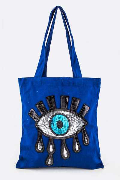 Sequins Evil Eye Canvas Tote