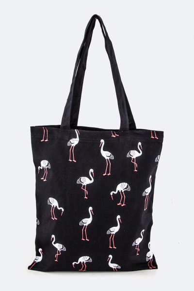 Crane Pattern Printed Canvas Tote