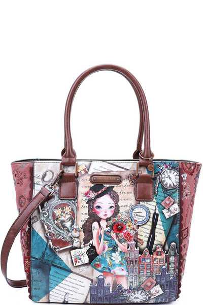 Nicole Lee EMILY TRAVELS STYLISH TOTE BAG WITH LONG STRAP