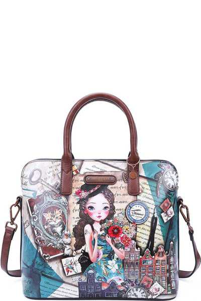 Nicole Lee EMILY TRAVELS PRINT SATCHEL BAG WITH LONG STRAP