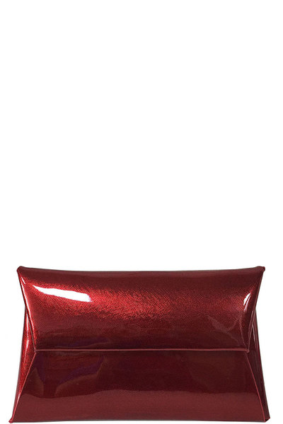 FASHION TRENDY GLOSSY ENVELOPE CLUTCH WITH CHAIN