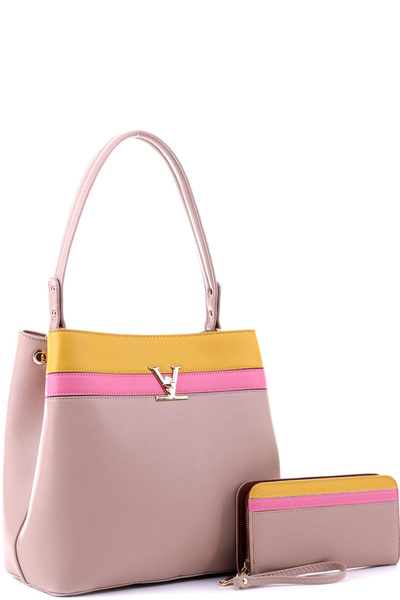 Color Block Single Strap Hobo Wallet SET