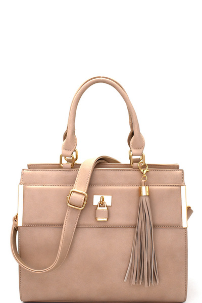 Padlock Tassel Accent Structured Satchel