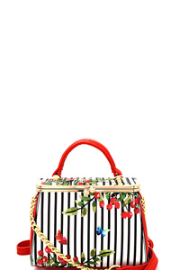 Pinstripe Flower Print Kiss-Lock Boxy Shoulder Bag
