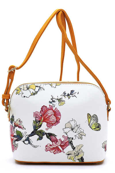 Flower Printed Dome Crossbody Bag