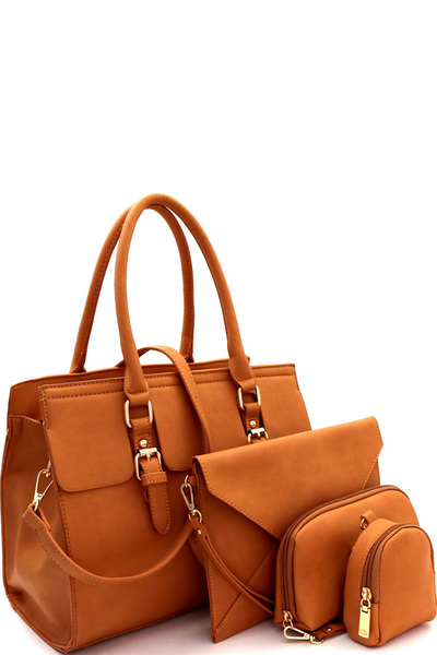 Buckle Accent Classy 5 in 1 Structured Satchel Value SET
