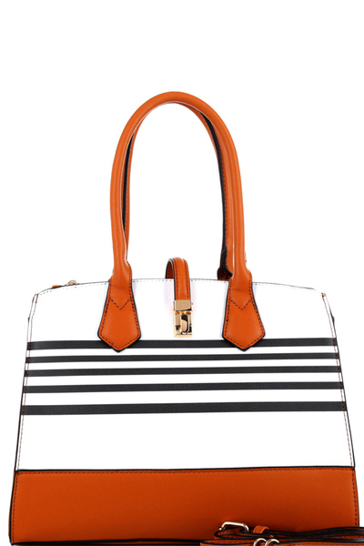 Stripe Print Multi-Compartment 2-Way Satchel