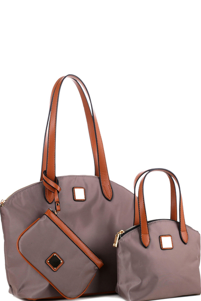 Nylon Two-Tone 3 in 1 Twin Tote Value SET