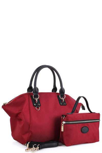 2IN1 DESIGNER STYLISH CANVAS SATCHEL WITH CROSSBODY SET