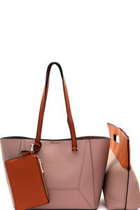 Cut-Out Handle Satchel 3 in 1 Tote Value SET