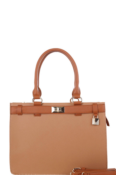 Turn-Lock Accent 3-Compartment Saffiano Satchel