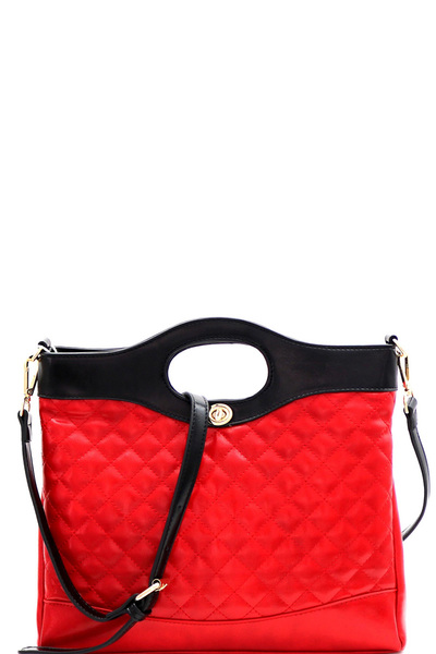 Handle Accent Two-Tone Quilted 2-Way Satchel