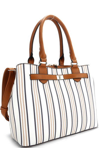 Pinstripe Print Multi-Compartment 2-Way Satchel