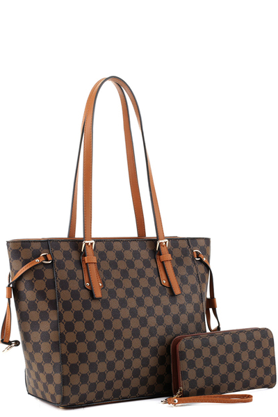 Two-Tone Monogram String Shopper Tote Wallet SET