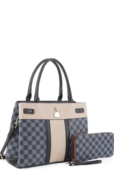 Fashion Monogram Colorblock 2-in-1 Satchel Set