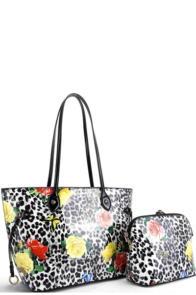 Butterfly Leopard Print Patent 2in1 Tote Value SET