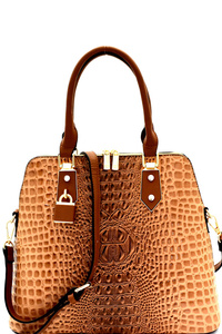 Padlock Accent Crocodile Patent Satchel