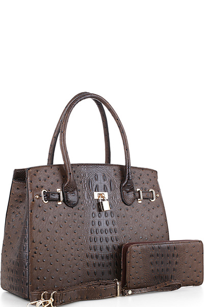 Padlock Accent Ostrich Embossed Large Tote Wallet SET