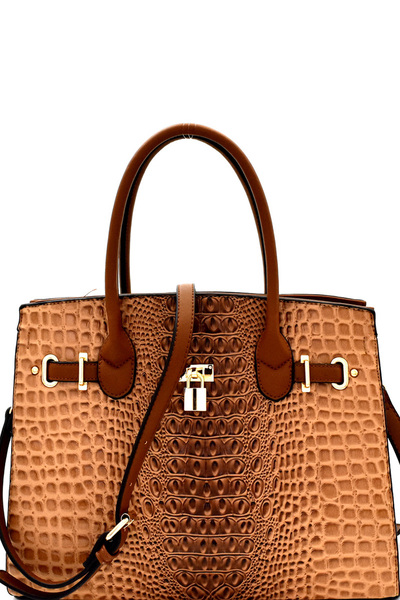 Padlock Accent Crocodile Patent Large Satchel