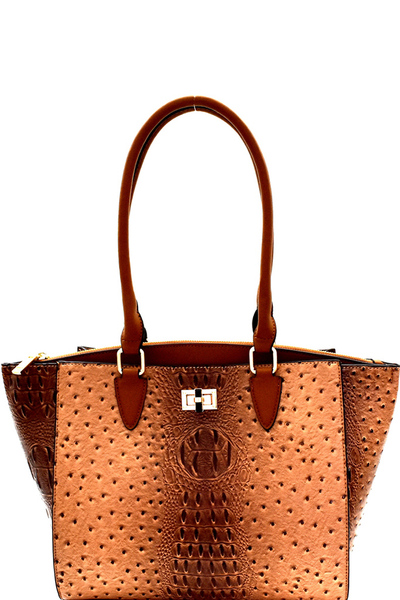 Ostrich Embossed 3-Compartment Wing Tote