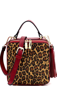 Leopard Print Tassel Accent Boxy Medium Satchel
