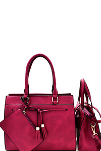 Tassel Bow Accent 3 in 1 Twin Satchel Value SET