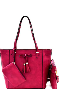Tassel Bow Accent 3 in 1 Tote Value SET