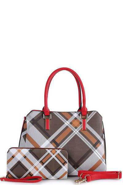 2IN1 COLOR BLOCK CHECK SATCHEL W MATCHING WALLET