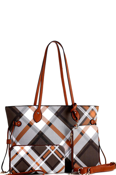 Plaid Checker 3 in 1 Tote Wallet Wristlet SET