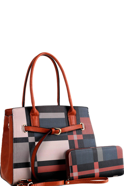 Plaid Check Prt Buckle Structured Tote Wallet SET